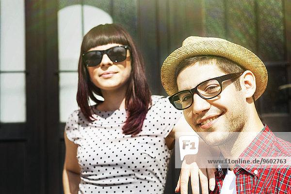 Young couple taking a break in sunlight  Osijek  Croatia