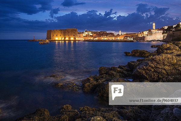 Nacht Ansicht Kroatien Dalmatien Dubrovnik