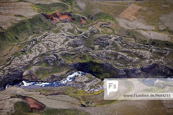 Flußbett Felsbrocken Anordnung Ansicht Luftbild Fernsehantenne Island Landmannalaugar