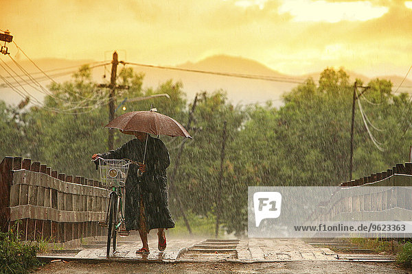 Myanmar  person on footbridge in monsoon rainfall