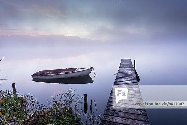 Deutschland  Wessling  Wesslinger See  Boot und Holzsteg im Morgennebel