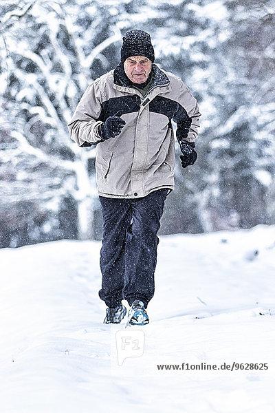 Deutschland  Baden-Württemberg  Holzberg  Seniorenjogging im Schnee