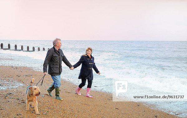 Seniorenpaar Spaziergang Hund am Strand