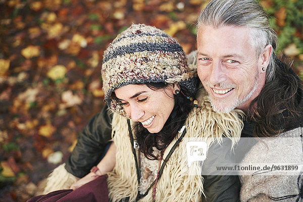 High angle portrait of mature hippy couple