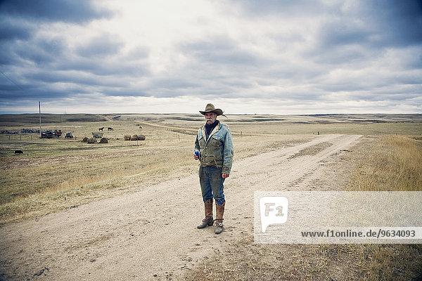stehend Landstraße Mann Hut Stiefel Kleidung kanadisch Cowboy Prärie