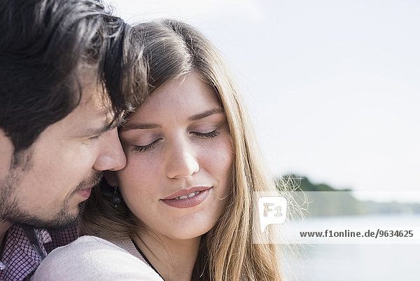 Close up loving young couple romantic