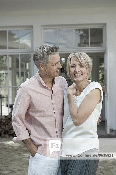 Couple married chic attractive garden hugging