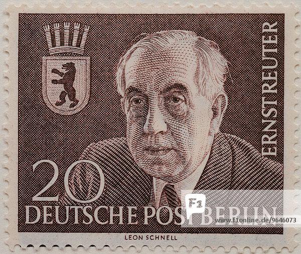 Ernst Reuter  Bürgermeister von West-Berlin 1948-1953  Porträt  deutsche Briefmarke  Berlin  1954