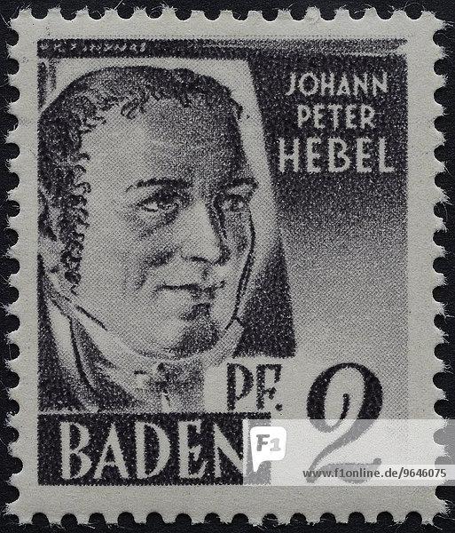 Johann Peter Hebel  deutscher Autor von Kurzgeschichten  Porträt  Briefmarke  Baden 1947