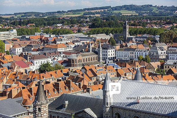Ausblick über die Dächer der Altstadt  Tournai  Hainaut  Belgien  Europa