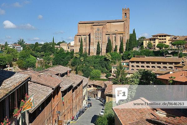 Basilica di San Domenico  vorne die Straße Via Fontebranda  Siena  Provinz Siena  Toskana  Italien  Europa
