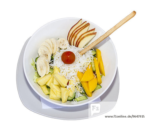 Salad with fruit and rice