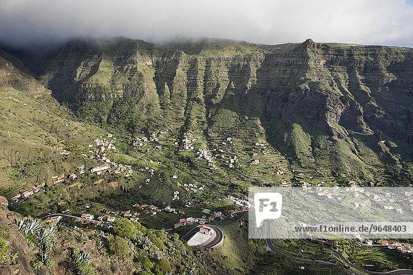 Ausblick vom Mirador Cesar Manrique  oberes Valle Gran Rey  La Gomera  Kanarische Inseln  Spanien  Europa