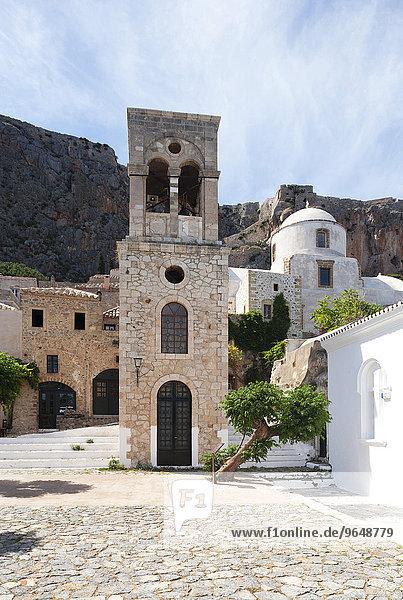 Glockenturm der byzantinischen griechisch-orthodoxen Kirche Christos Elkomenos  mittelalterliches Wehrdorf  Monemvasia  Lakonien  Peloponnes  Griechenland  Europa