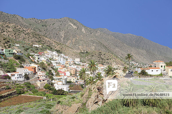 View of the village of Vallehermoso  La Gomera  Canary Islands  Spain  Europe