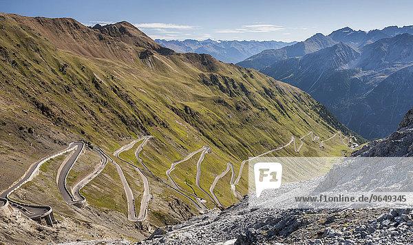 Passstraße zum Stilfser Joch  Alpenstraße  Ostrampe  Nationalpark Stilfser Joch  Stelvio  Südtirol  Trentino-Alto Adige  Italien  Europa