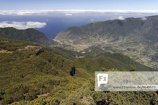 View of the valley of São Vicente and the town of São Vicente  Madeira  Portugal  Europe