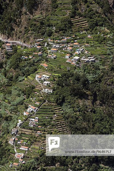 Ausblick vom Eira do Serrado auf Curral das Freiras  Madeira  Portugal  Europa