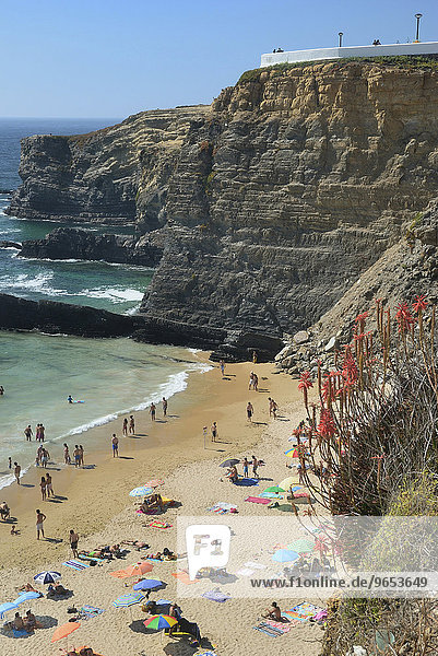 Sandstrand Praia de Zambujeira  in schroffer Steilküste  Costa Alentejana  Westalgarve  Algarve  Portugal  Europa