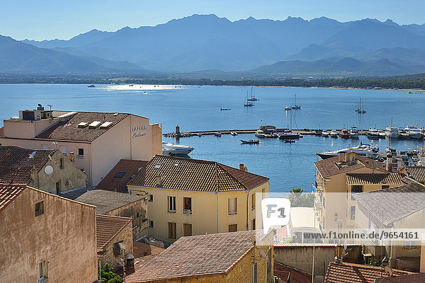 View over the roofs of Calvi and the bay  Balagne  Haute-Corse  Corsica  France  Europe
