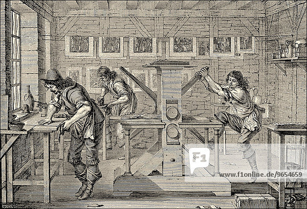 A printer for copperplate engravings in the 17th century  historical illustration