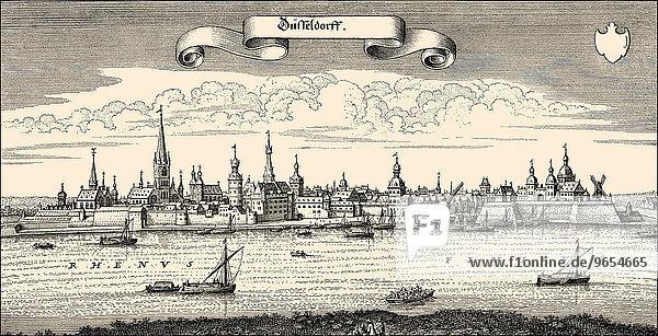 Historic cityscape of Düsseldorf  17th century  Germany  Europe
