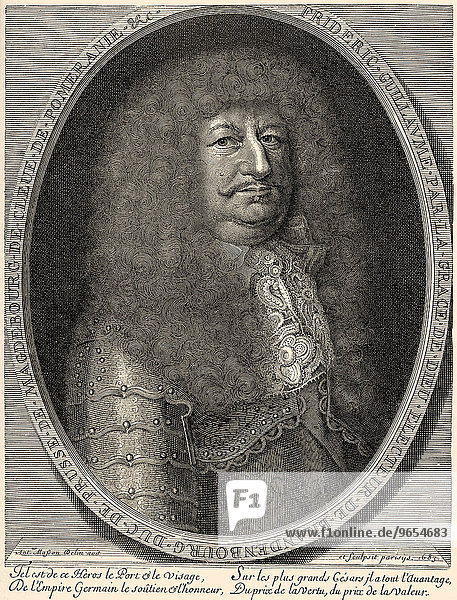 Frederick William  Elector of Brandenburg  1620-1688  House of Hohenzollern  Margrave of Brandenburg  Chamberlain and Elector of the Holy Roman Empire and Duke of Prussia  historical illustration