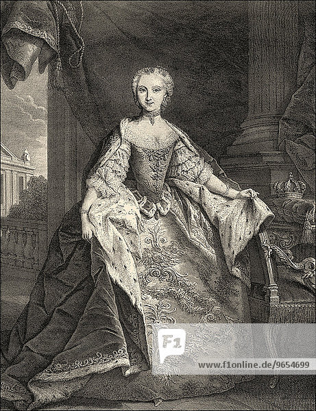 Maria Josepha of Saxony  Dauphine of France  1731-1767  Princess of Poland and Saxony and by marriage Crown Princess of France  historical illustration