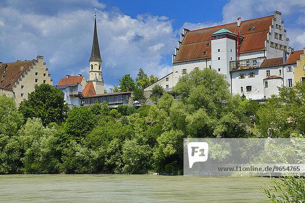 Inn  Schloss  Wasserburg am Inn  Oberbayern  Bayern  Deutschland  Europa