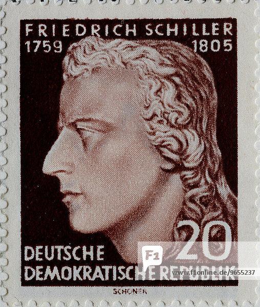 Friedrich Schiller  Portrait auf einer Briefmarke  DDR  1955