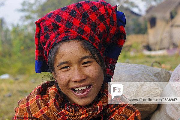 Young market woman on a morning market  Inle Lake  Myanmar  Burma  Southeast Asia  Asia