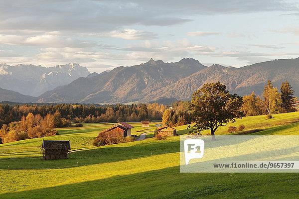 Voralpenlandschaft mit Heustadel mit Ausblick zum Wettersteingebirge  Murnau  Oberbayern  Bayern  Deutschland  Europa