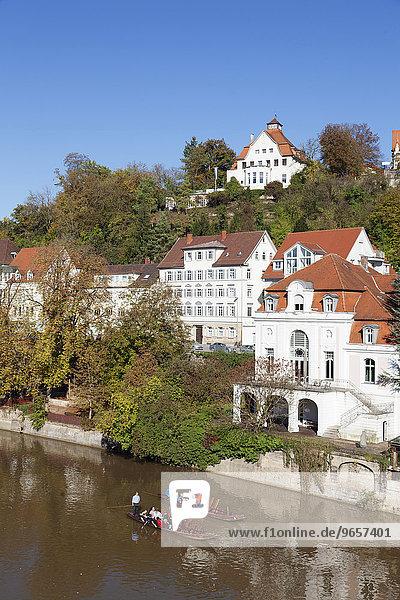 Stocherkähne auf dem Neckar  Altstadt  Tübingen  Baden-Württemberg  Deutschland  Europa
