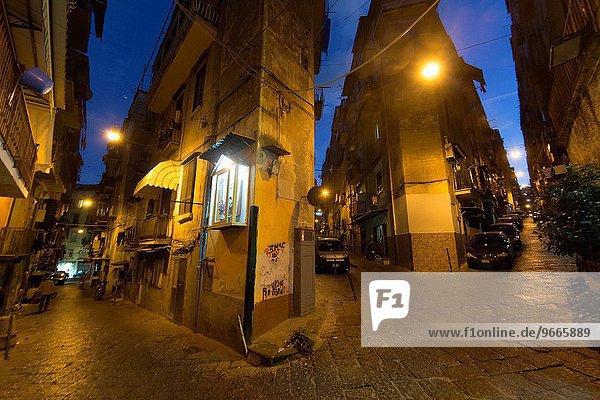 narrow streets in spagnoli area of Naples.