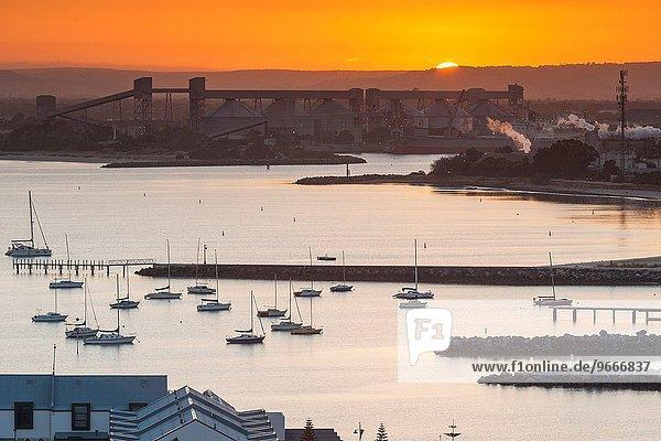 Hafen Morgendämmerung Ansicht Erhöhte Ansicht Aufsicht heben Australien Western Australia