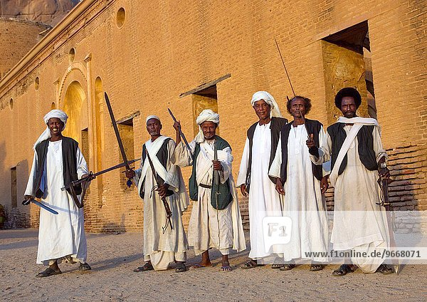 Beja Tribe Men Dancing In Front Of The Khatmiyah Mosque At The Base Of The Taka Mountains  Kassala  Sudan