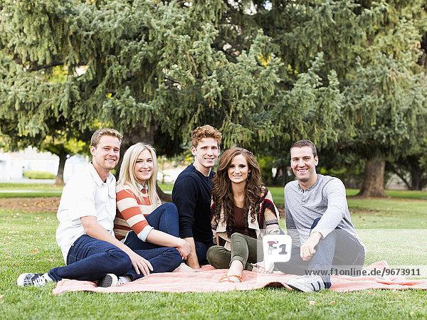 Portrait of friends in park