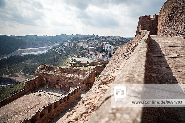 Cardona  Catalonia Spain. View of the village from castle.