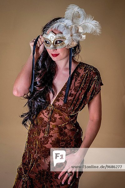 Picture of young woman in mask