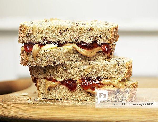 Sandwiches mit Erdnussbutter und Marmelade