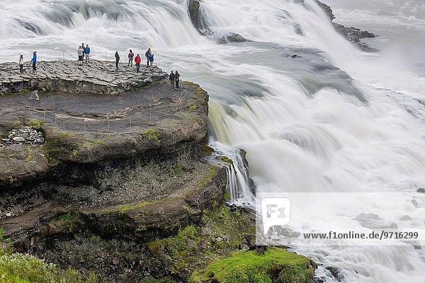 View of Gullfoss  Golden waterfall  on the Hvítá river  Iceland.