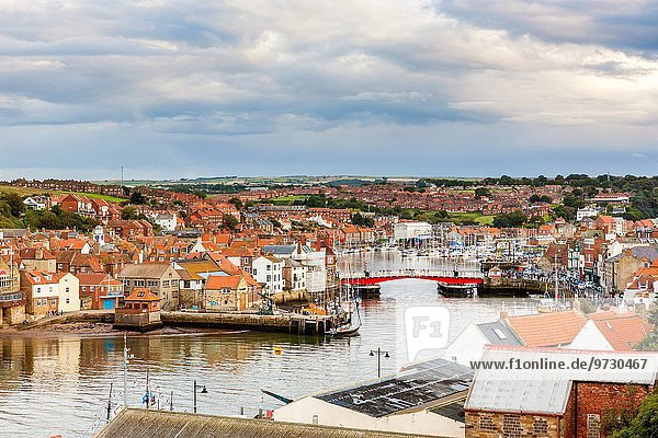View of Whitby harbour and town  North Yorkshire  England  United Kingdom  Europe.