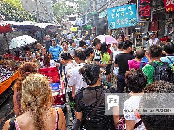 Blumenmarkt Lebensmittel Straße verkaufen China Islam Viertel Menge Xian