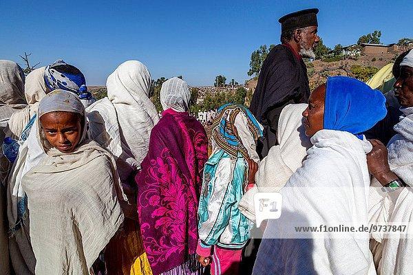Zeit Weihnachten Pilgerer Christ Äthiopien