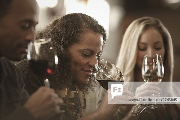 Zusammenhalt Freundschaft Wein Verkostung