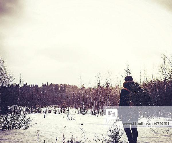 Europäer Mann tragen Baum Schnee Feld