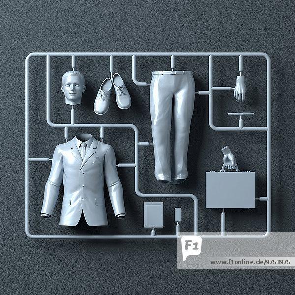 Plastik-Montagesatz für einen Geschäftsmann