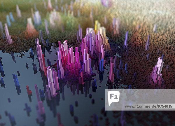 Abstrakte dreidimensionale Stadtlandschaft