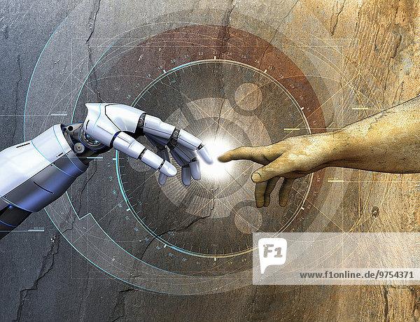 Menschlicher Arm berührt einen Roboterarm über geometrischen Diagrammen