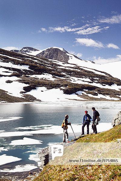 Hikers at lake